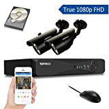 SANSCO SMART 4CH 1080P DVR Recorder CCTV System w/ 2x 2.0 MP Outdoor Camera and 1TB Hard Drive Disk (P2P Technology, 1920x1080 Bullet Cam, Vandal and Water-Proof, Night Vision, Mobile App: Xmeye)