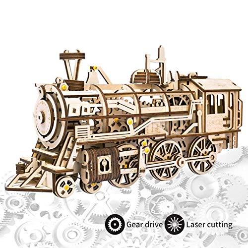 ROKR Modelo Arte Locomotora Rompecabezas Madera Corte
