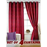 Story@Home Nature Eyelet 4 Piece Abstact Premium Polyester Window Curtain - 5ft, Maroon
