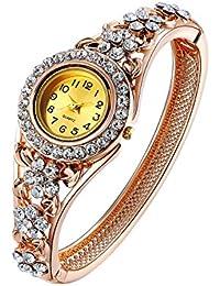 Oven Moda® Las Mujeres Brazalete Vintage Pulsera Reloj Quarta para Señoras Madre Regalo Oro Rosa Plateado Hueco Joyería Perímetro:20.5cm