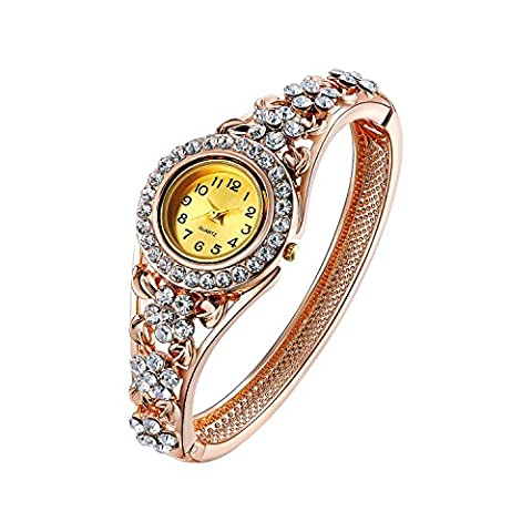 Oven Moda Frauen Vintage Armreif Armband Quarta Armbanduhr für Damen Mutter Geschenk Rose Gold Plated Hohlen Schmuck (Platin Inner Ring)