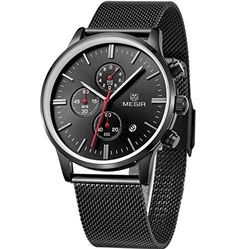 Handcuffs MEGIR 2011 Luxury Brand Chronograph Watch with Black Mesh Strap For Men
