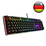 ACGAM RGB Gaming Tastatur 105 Tasten mit Blue Switsches (RGB Beleuchtet, Anti-Ghosting, Voll programmbierbar, Ergonomisches Design und Deutsches Layout QWERTZ ) Mechanical Gaming Keyboard