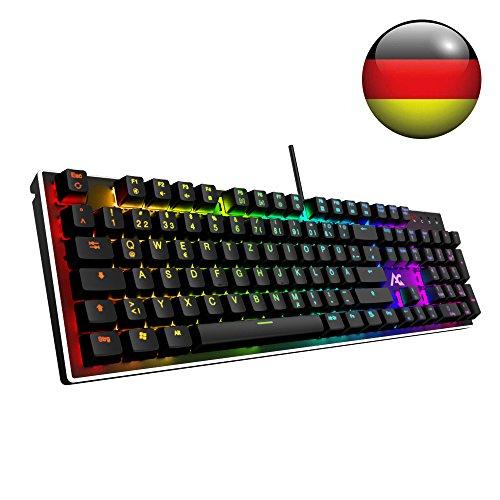 ACGAM RGB Gaming Tastatur 105 Tasten mit Blue Switsches (RGB Beleuchtet, Anti-Ghosting, Voll programmbierbar, Ergonomisches Design und Deutsches Layout QWERTZ ) Mechanical Gaming Keyboard