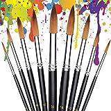 Fine Art Malerpinsel, 9 Stück, Gouache-Malerpinsel, runde Spitze, Nylon, für Acryl, Aquarell, Ölmalerei