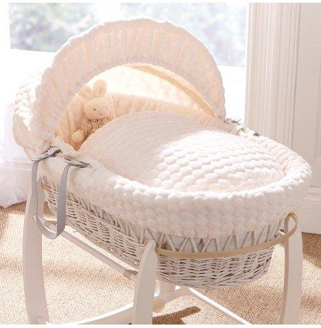Bébé par'fée Ensemble Couffin en osier fait main naturel avec matelas, habillage et pied de couffin à bascule