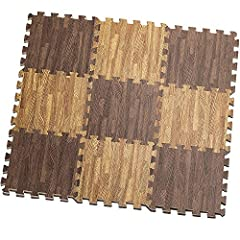 Idea Regalo - HemingWeigh Stampato il grano di legno ad incastro schiuma Tappetini Anti fatica Puzzle – rende A Superior Fitness, a - Set di 9 tessere (Mix)