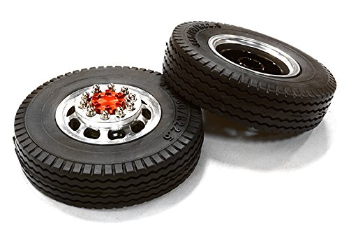 Integy-Hobby-RC-Model-C26573RED-Machined-Alloy-T5-Front-Wheel-XE-Tire-Set-for-Tamiya-114-Scale-Tractor-Trucks