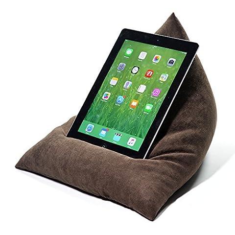 eBean tablette–Coussin Pouf support porte Lap adapté pour tous les iPad tablettes et lecteurs de eBook Brown Faux Suede