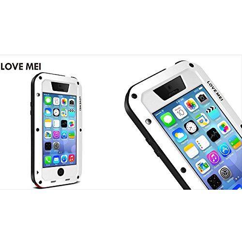 Love Mei Aluminium Metall Gorilla Glas Shock/Wasser Proof Schutzhülle für Apple iPhone 5C weiß