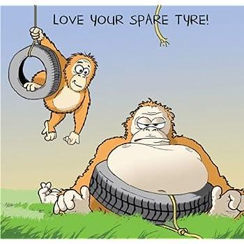 Twizler Carte Humoristique Avec Fat Gorilla Singe Et Pneu De