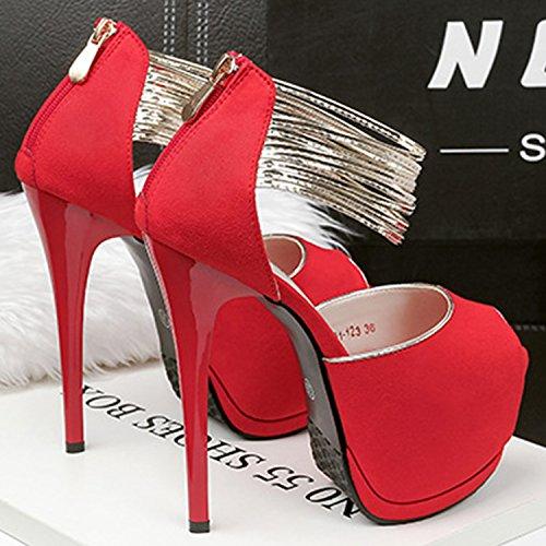 Oasap Women's Peep Toe Platform High Heels Ankle Strap Pumps Red