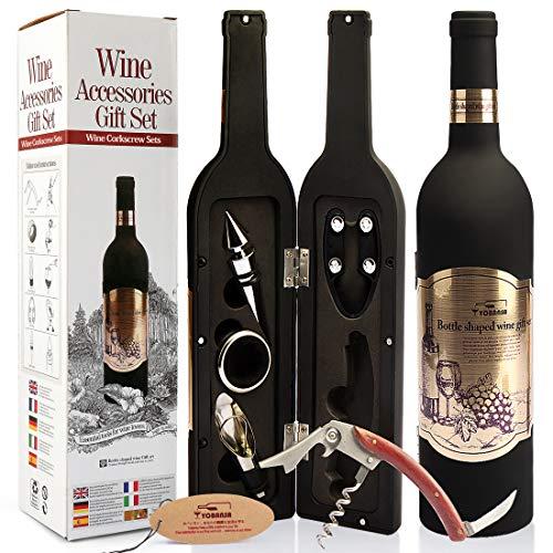 Yobansa Ensemble d'accessoires pour Le vin en Forme de Bouteille de vin,Ensemble d'ouvre vin Comprend Tire-Bouchon à vin,Bouchon à vin,verseur pour Le vin (Bottle 01)