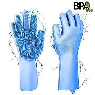 ANYOYO Dishwashing Gloves, Magic Reusable Silicone Gloves Cleaning Gloves Brush Dish Washing Sponge Gloves for Washing Dish, Kitchen, Car, Bathroom, Pet Hair Care with Wash Scrubber