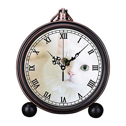 MAFALE - Reloj Despertador Europeo Retro Redondo, silencioso, de Cuarzo, con cabecero Sencillo, Digital, Reloj Despertador, Timbre, Reloj Despertador, Largo, Piel Blanca, Gato