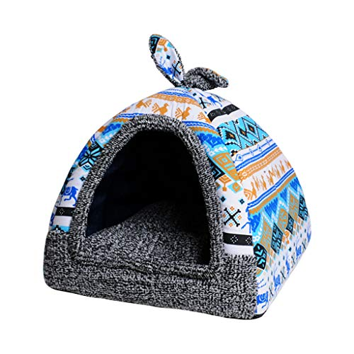 Pet Nest abnehmbar und waschbar Yurt Teddy Dog Kennel Kleiner Hund Vier Jahreszeiten Universal Supplies Chihuahua Medium Pet Mat HUYP (Color : Light Blue, Size : XL:48 * 48 * 53cm) -