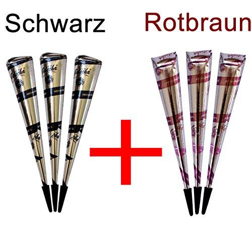 3x Schwarz + 3x Rotbraune natürliche Kegel für Temporäres Mehndi Tattoos