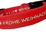 Halsband FROHE WEIHNACHTEN Hundehalsband Halsung Winter Geschenk Nylon Hund rot Klickverschluss verstellbar 30 - 40 cm x 2 cm breit