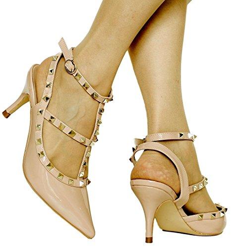Rock on Styles Women Ladies Party Studs Patent Low Mid Heel Court Shoes Pumps Sandals Size E-46 (UK 5/EU 38, Beige)