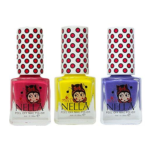 Miss Nella Cherry-Makronen, Sun Kissed, Sweet Lavender spezielle Glitzer Kinder Nagellack mit Peel Off auf Wasserbasis Formel -