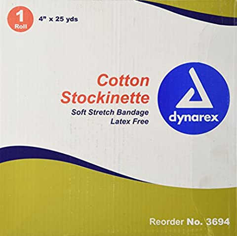 Dynarex One Roll Cotton Stockinette Soft Stretch Bandage - 4 Inches X 25 Yards