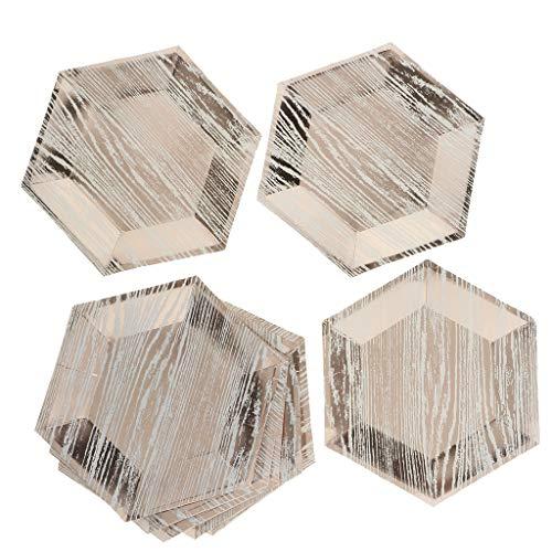 Baoblaze 8pcs Assiettes en Papier Assiettes Jetables Assiettes en Carton Hexagonal pour Anniversaire de Enfants, Saint-Valentin, Mariage - 8 Pouces