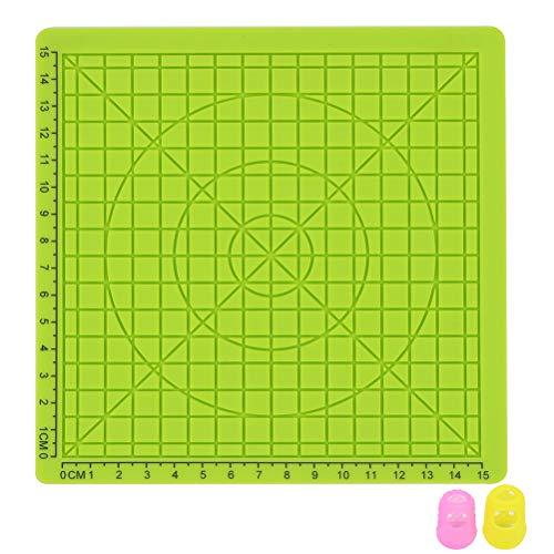 Yardwe 3D Printing Pen Silikonmatte Kinder Zeichnungsvorlage Pad mit 2 Stück zufällige Farbe Fingerabdeckungen - Typ B (grün)