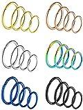 24 Piezas 20 Gauge Pendientes de Acero Inoxidable Aro de Nariz para Piercing de Cuerpo, 4 Tamaños, 6 Colores