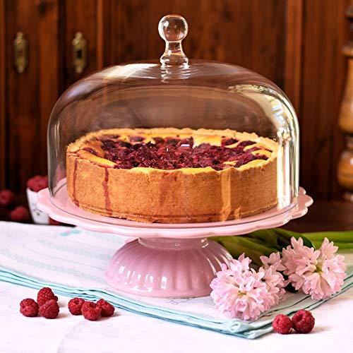 Romantisch: Ib Laursen Tortenplatte Mynte in English Rose mit Glashaube, Ø 29 cm