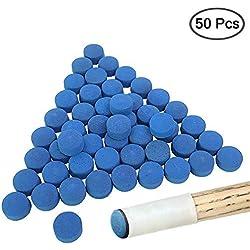 YuCool - Puntas de Billar para Tacos de Billar (50 Unidades), Color Azul