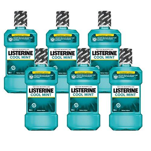 Listerine Cool Mint Antibakterielle Mundspülung (mit frischem Minzgeschmack, für gesunde Zähne) 6er Pack (6 x 600 ml)