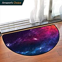 DESPKONMATS Outer Space Bedroom Rug, Planetary Galaxy Theme For Computer Chair & Coffee Table, Phthalate Free, Rugs for Office Stand Up Desk, Half Circle-W35.5 x R19.7 INCH