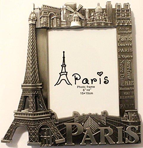 Bilderrahmen aus Metall, 15 x 10 cm, Motiv: Paris, Souvenir, Geschenk, Außenmaße: 18 x 18,5cm
