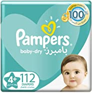 Pampers Baby-Dry, Size 4+, Maxi+, 112 Diapers