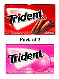 Trident Gum 14 Sticks Chewing Gum Bubble Gum + Cinnamon Flavor Imported Chewing Gum - Pack of 2 - Shipping Free