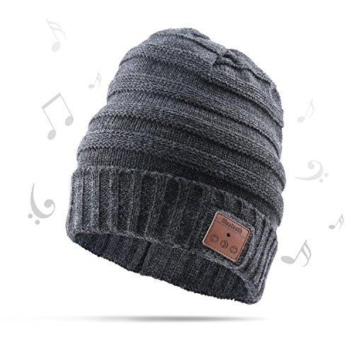 AIKER Bluetooth Hat Wireless Smart Musik Kopfhörer Mütze Hat zum Winter Sports und Weihnachten Geschenke (Grau) Ich Sport Wireless Kopfhörer