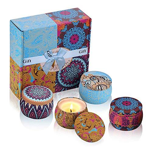 iheyfill Duftkerze Aroma Kerzen Naturwach in Dose 4er Duftkerzen Geschenk Set - Natürliches Aromen Aroma Kerze von Frühling frisch, Zitrone, Lavendel und Feigen Düfte für Aromatherapie