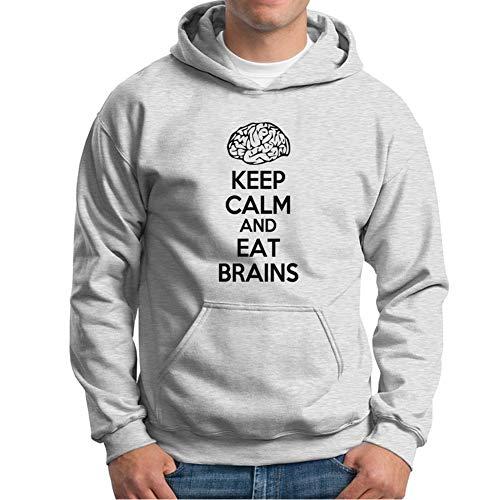 Visual Basics Keep Calm and Eat Brains Kapuzenpullover/Hoodie - Grau - Small