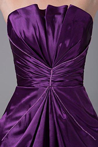 Bridal_Mall Damen 2015 Neu ohne Traeger Cocktailkleider Kurz Falten Satin Ball Abendkleider Violett