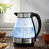 VonShef Electric Glass Kettle with Blue LED Illumination – Rapid Boil, Cordless 1.7L, 3000W