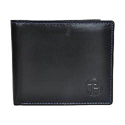 Chandair Pure Leather Black & Blue Mens Wallet (WL-002_Blue_Stitch)
