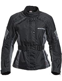 Motorradjacke Road Damen Tour Textiljacke 1.0, verschließbares Belüftungssystem, Oberarm-, Taillen-, Bundweitenverstellung, Reflektoren an Brust und Rücken, Schulter-, Ellbogenprotektoren, schwarz
