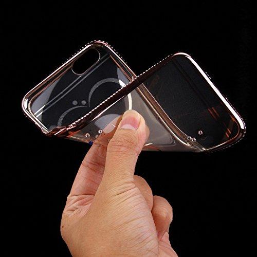 iPhone 6S-6 Hülle Glitzer-Strass Case Schutzhülle (4,7 Zoll) im stylishen Glamour glitzer Crystal Look mit Strassteinen und Aufdruck für das iPhone 6S-6 - Farbe: Gold - Nur original von THESMARTGUARD rose - Herz