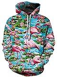 Ocean Plus Herren Kapuzenpullover Lebensecht 3D Grafik Hoodie mit Kängurutasche Pullover mit Kapuze Sweat Hood (XXL/3XL (Brustumfang: 126-146CM), Flamingo)