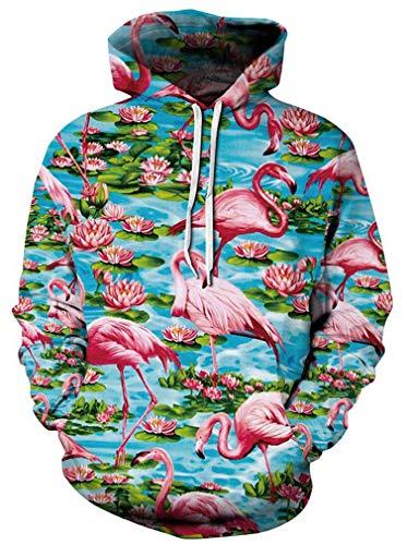 Ocean Plus Herren Kapuzenpullover Lebensecht 3D Grafik Hoodie mit Kängurutasche Pullover mit Kapuze Sweat Hood (L/XL (Brustumfang: 114-134CM), Flamingo)
