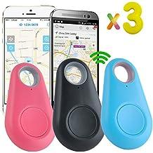 3 Pack Bluetooth Tracker Mini Smart Clé Chercheur Anti-Perte Temps Réel Localisation Alarme pour Animal Chien Pet Porte-monnaie Porte-clés