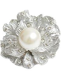 Perla floral muchachas de las mujeres de la bufanda de la broche de la hebilla de la aleación Breastpin Contacto…