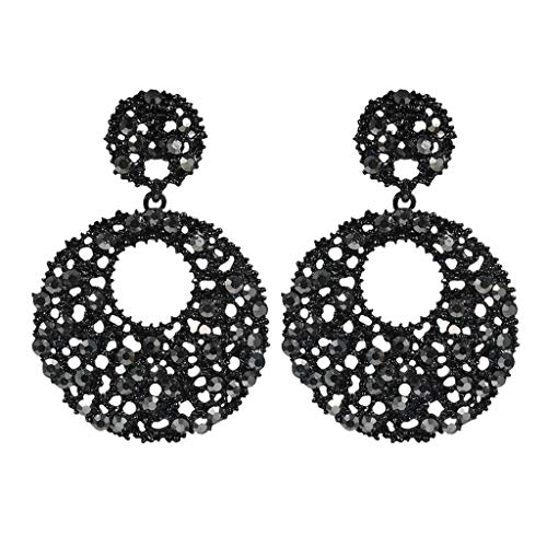 Mode-Eleganter Retro-Hoher Schwarzer üBertriebener Kreis Mit Diamant-Damen-Ohrring (Ring Diamant Karma Mit)