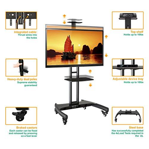 STANDMOUNTS Supporto Per TV A Pavimento Per LCD LED Plasma 32u201d   65 Pollici PORTA  TV UNIVERSALE CON ROTELLE PIEDISTALLO PER TV FINO 45.5 Kg MOBILE STAFFA TV  ...