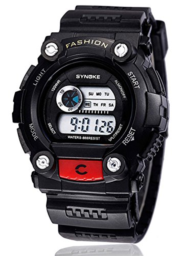 Heißer Verkauf Sport Armbanduhr für Männer Runde Wasserdichte Digital-Uhr mit Wecker Chronograph Licht und Kalender-Funktionen - Schwarz